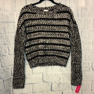 XHILARATION: Black and white striped sweater